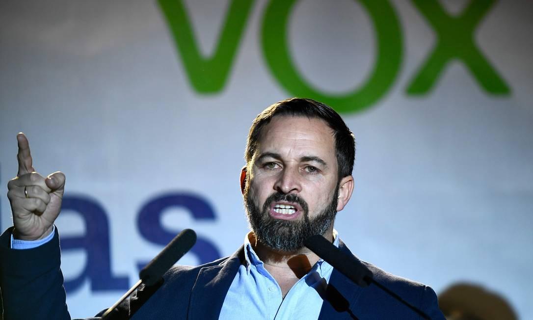 O líder do Vox, Santiago Abascal, que levou sua legenda ao Parlamento, mas com menos força do que se previa Foto: OSCAR DEL POZO / AFP/28-4-2019