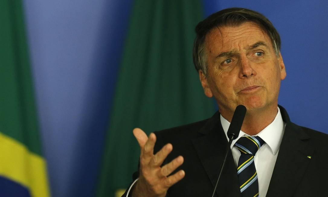 BSB - Brasília - Brasil - 30/04/2019 - Presidente Jair Bolsonaro durante solenidade de assinatura da Medida Provisória da Liberdade Econômica. Foto: Jorge William / Agência O Globo Foto: Jorge William / Agência O Globo