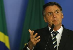O presidente Jair Bolsonaro desistiu de viajar para Nova York, onde receberia prêmio, após pressões Foto: Jorge William / Agência O Globo