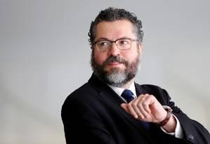 O ministro das Relações Exteriores Ernesto Araújo no Palácio do Itamaraty nesta terça-feira Foto: ADRIANO MACHADO / REUTERS 29-04-19