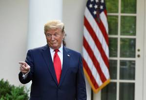 O presidente Donald Trump no Rose Garden na Casa Branca nesta segunda-feira Foto: CLODAGH KILCOYNE / REUTERS 6-5-19