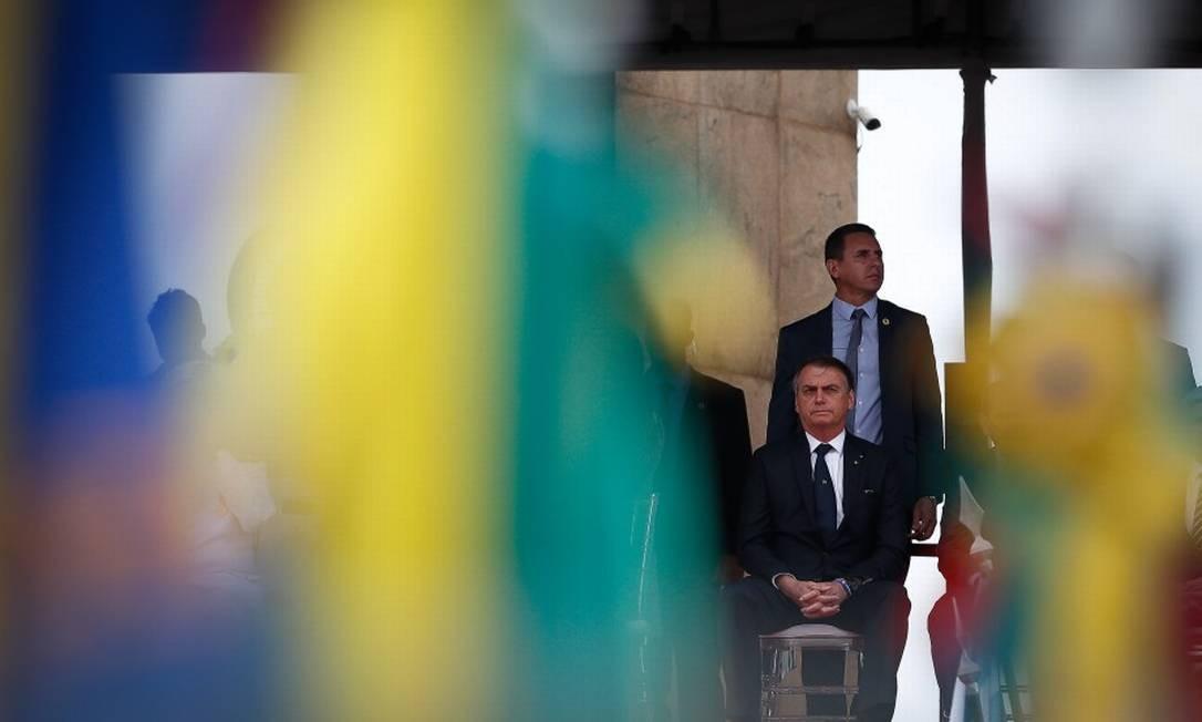 O presidente Jair Bolsonaro na comemoração do dia da vitória no monumento aos pracinhas com a participação nesta quarta-feira Foto: Pablo Jacob / Agência O Globo 8-5-19