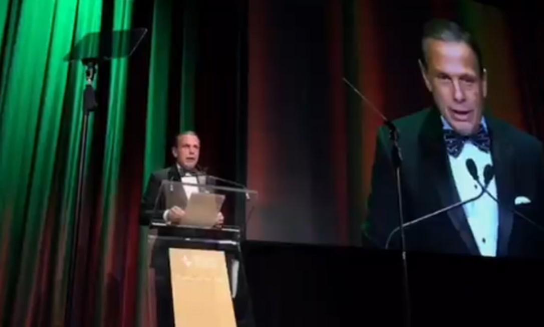 O governador de São Paulo, João Doria, em evento da Câmara de Comércio Brasil-EUA em Nova York Foto: Reprodução do Twitter