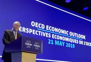 Angel Gurria, secretário-geral da OCDE, dá discurso em encontro da organização em Paris, nesta quarta-feira Foto: ERIC PIERMONT / AFP 21-5-19