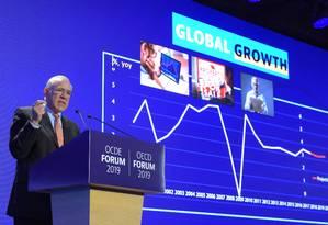 Ángel Gurria, secretário-geral da OCDE, apresenta o relatório anual da organização sobre a economia mundial Foto: ERIC PIERMONT / AFP/21-5-2019