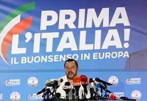 O vice-premier italiano Matteo Salvini: bloco da extrema direita e eurocético cresceu, mas há divisões internas Foto: ALESSANDRO GAROFALO / REUTERS