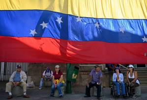 Apoiadores do líder da oposição Juan Guaidó em protesto em Caracas no dia 11 de maio Foto: YURI CORTEZ / AFP 11-5-19