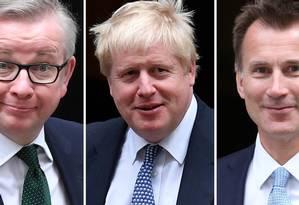 Os três favoritos a líder do Partido Conservador do Reino Unido: da esquerda para a direita, Michael Gove, Boris Johnson e Jeremy Hunt Foto: STF / AFP