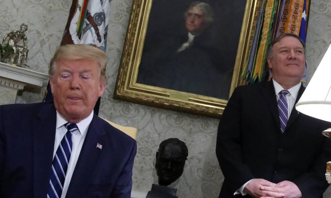 O presidente dos Estados Unidos, Donald Trump, e o secretário de Estado Mike Pompeo Foto: JONATHAN ERNST / REUTERS 20-6-19