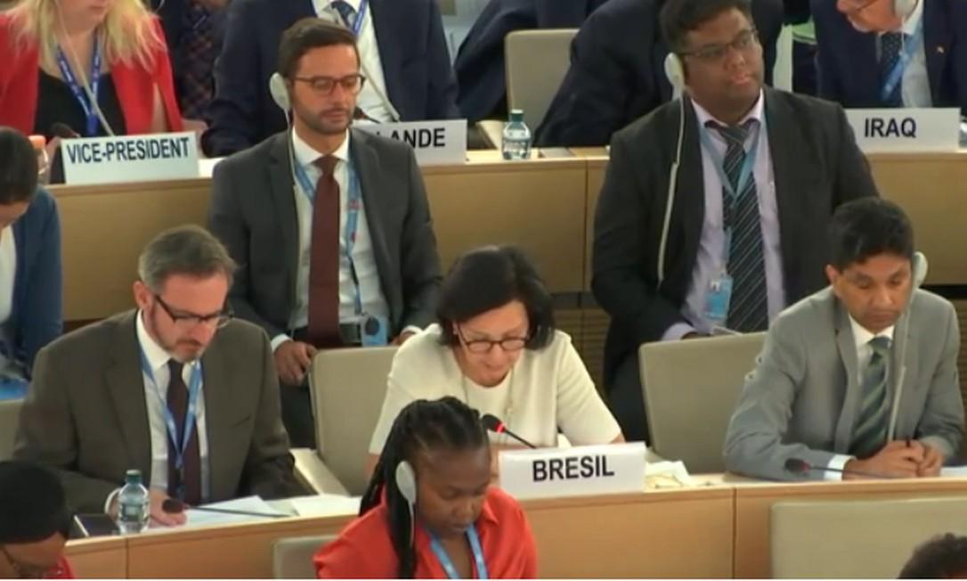 A embaixadora do Brasil na ONU em Genebra, Maria Nazareth Farani Azevêdo, durante votação no Conselho de Direitos Humanos da ONU Foto: Reprodução