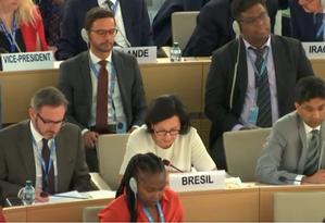 A embaixadora do Brasil na ONU, Maria Nazareth Farani Azevêdo, justifica a abstenção em votação sobre investigação nas Filipinas Foto: Reprodução