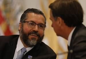 Ernesto Araújo não quis fazer previsão sobre o futuro do bloco Foto: Jorge William / Agência O Globo 3-5-19