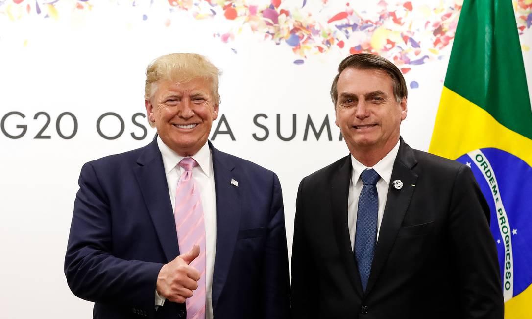 Trump e Bolsonaro na reunião do G-20, em Osaka, no Japão Foto: Alan Santos / Presidência da República/28-6-2019