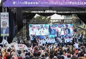 Comício da campanha eleitoral de 2018 da Força Alternativa Revolucionária do Comum, o partido político formado pelas Farc após o acordo de 2016 Foto: RAUL ARBOLEDA / AFP/27-1-2018