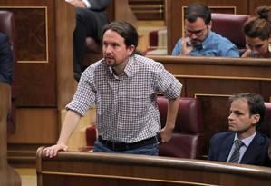 Pablo Iglesias, do Unidas Podemos, que travou um debate acalorado com o socialista Pedro Sánchez no Parlamento Foto: SERGIO PEREZ / REUTERS