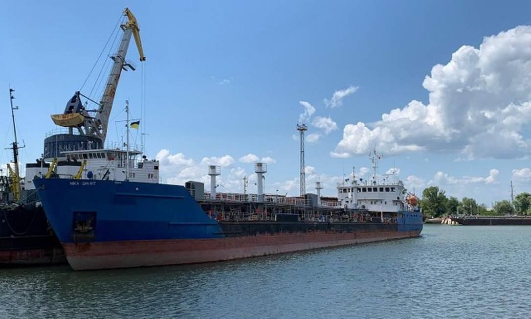 O petroleiro Nika Spirit, antes chamado Neyma, detido pelo serviço ucraniano de segurança no porto de Izmail Foto: HANDOUT / REUTERS 25-7-19