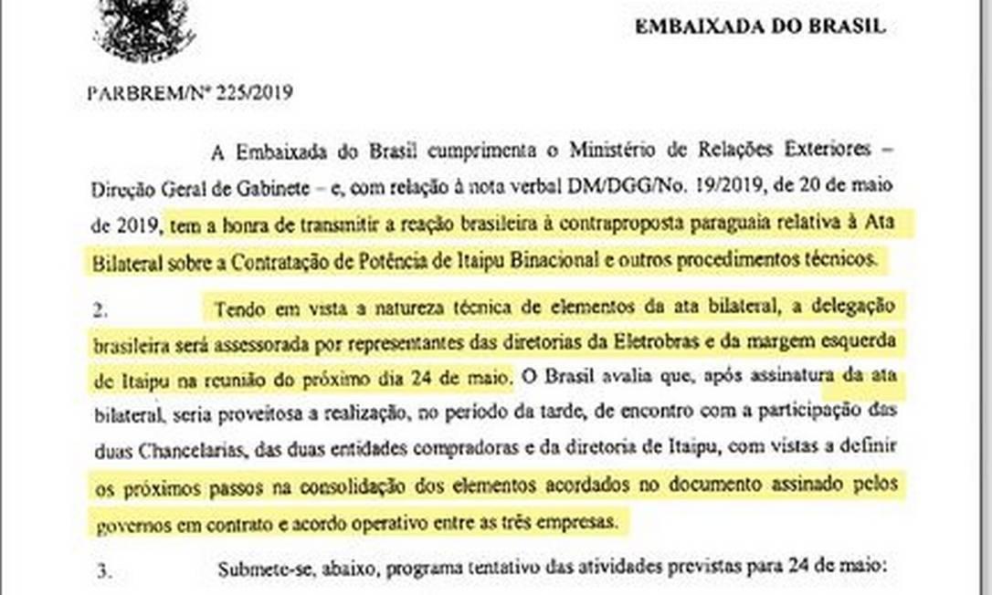 Telegrama diplomático de 22 de maio no qual o Brasil informa que levará técnicos para a reunião: chancelaria do Paraguai não informou diretoria de empresa estatal Foto: Reprodução ABC Color