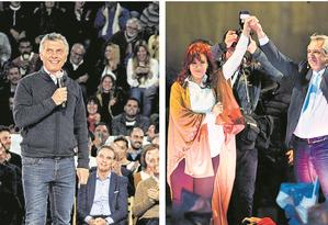 O presidente argentino Mauricio Macri e o candidato presidencial Alberto Fernández e a vice-presidente Cristina Kirchner Foto: Agências internacionais