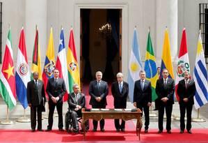 Os presidentes Bolsonaro, Lenin Moreno (Equador), Iván Duque (Colômbia), Piñera (Chile), Mauricio Macri, Martín Vizcarra (Peru e Mario Abdo (Paraguai) lançaram o Prosul em março, mas grupo já se vê em risco com mudança de cenário Foto: RODRIGO GARRIDO / Reuters