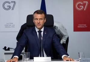 O presidente da França, Emmanuel Macron, em reunião do G7 em Biarritz Foto: IAN LANGSDON / AFP 26-7-19