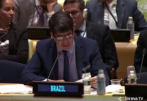 O secretário-adjunto de políticas globais do ministério de Damares Alves, Alexandre Magno Fernandes Moreira, na ONU Foto: Reprodução UN Web Tv
