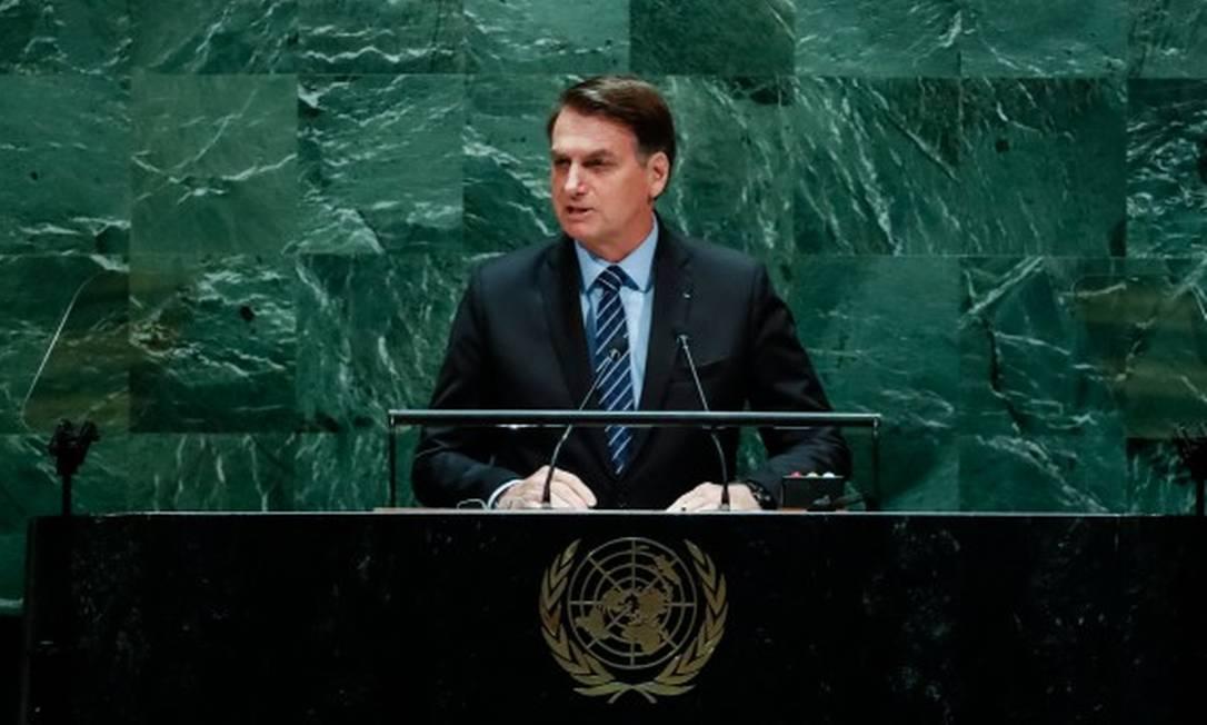 O presidente Jair Bolsonaro durante a abertura do Debate Geral da 74ª Sessão da Assembleia Geral das Nações Unidas Foto: Alan Santos / Presidência da República / Reprodução