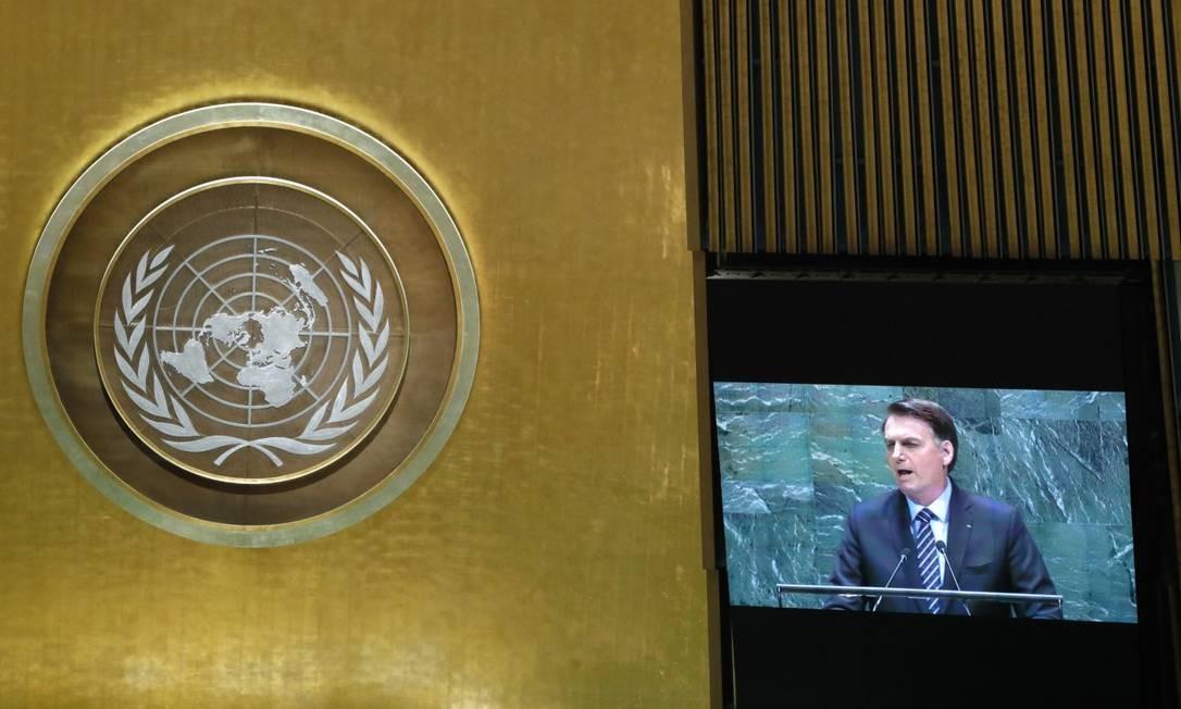O presidente Jair Bolsonaro discursando na Assembleia Geral da ONU Foto: LUCAS JACKSON / REUTERS 24-9-19