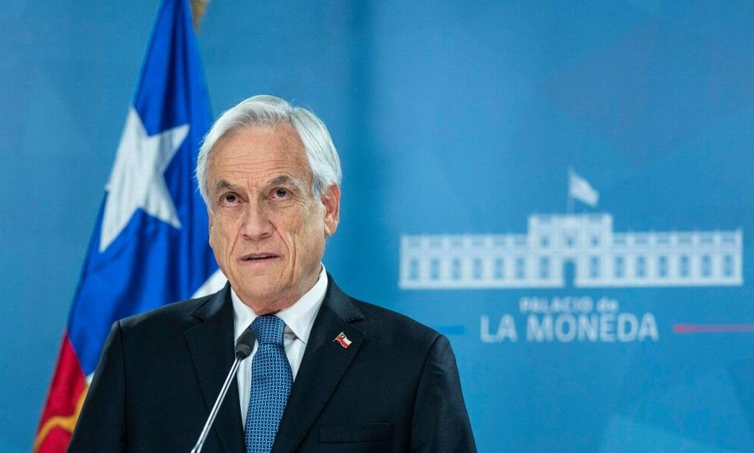 O presidente do Chile, Sebastián Piñera, em discurso em Santiago, durante os protestos no país Foto: Reprodução / Presidência do Chile 21-10-19