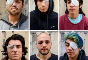 Manifestantes feridos: José Soto, Diego Villegas, Edgardo Navararro, Antonio Morales, Vika e Benton Cannavaro Foto: Tamara Merino / Bloomberg