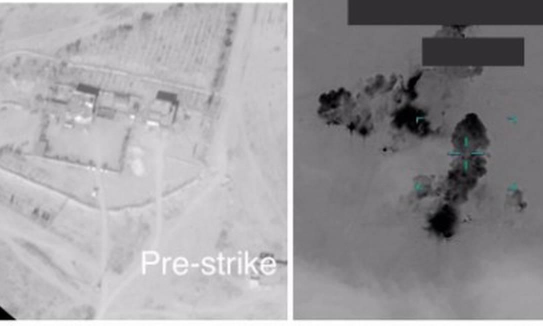 Fotos mostra alvos do Kataib Hezbollah atingidos Foto: Departamento de Defesa dos EUA / Reuters