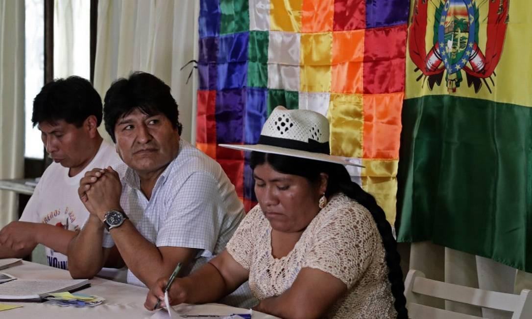 O ex-presidente da BOlívia, Evo Morales, em reunião de seu partido, Movimento ao Socialismo, na Argentina Foto: ALEJANDRO PAGNI / AFP