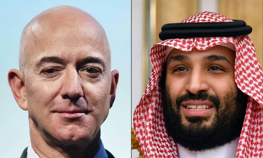 O fundador da Amazon, Jeff Bezos, e o príncípe herdeiro saudita Mohammed bin Salman Foto: MANDEL NGAN / AFP