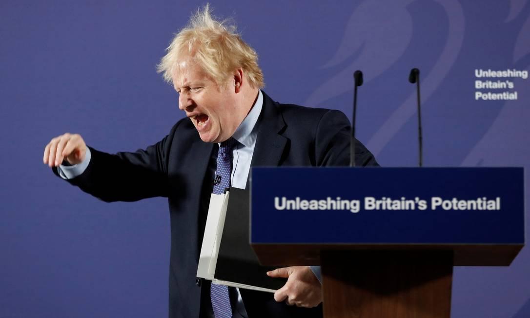 O primeiro-ministro britânico Boris Johnson apresenta seu plano de negociação comercial com a União Europeia Foto: POOL / REUTERS