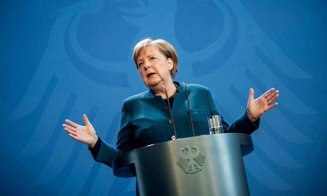 Chanceler da Alemanha, Angela Merkel, em pronunciamento à imprensa sobre a epidemia do novo coronavírus Foto: POOL / via REUTERS