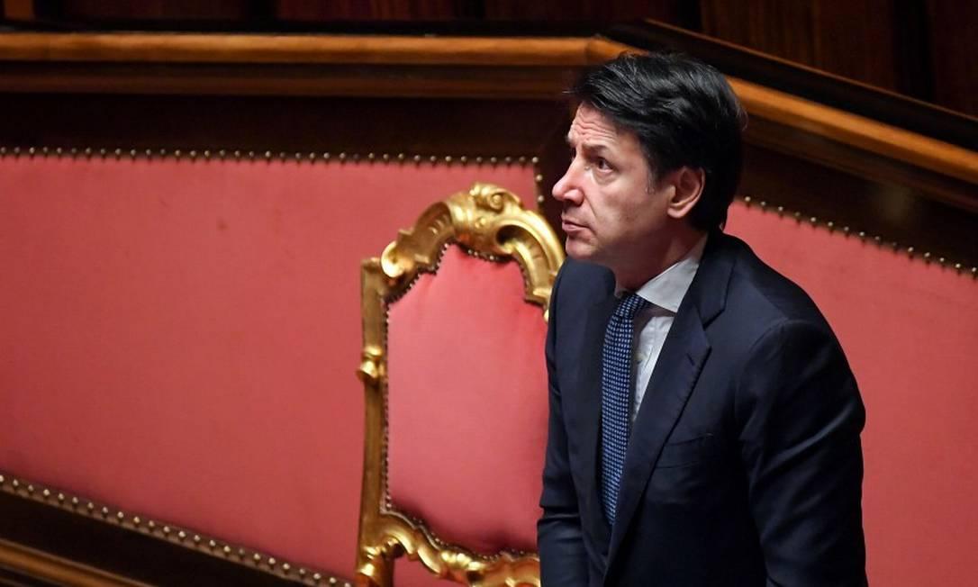 O primeiro-ministro italiano, Giuseppe Conte, em sessão no Senado em 26 de março sobre o novo coronavírus Foto: Alberto Lingria / REUTERS