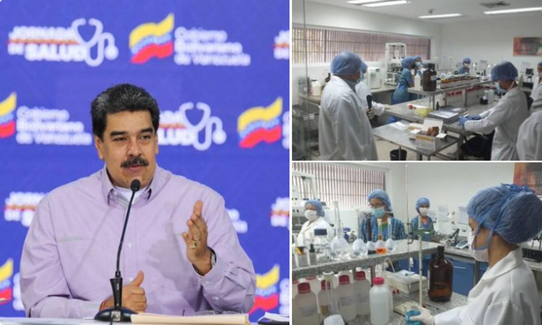 Montagem postada por Nicolás Maduro que mostra o líder da Venezuela e laboratórios do país que produzem cloroquina Foto: Reprodução