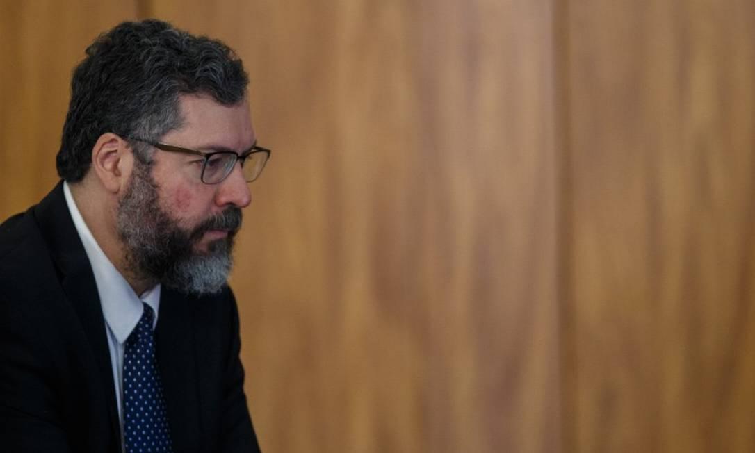 O ministro das Relações Exteriores, Ernesto Araújo, no Palácio do Planalto Foto: Daniel Marenco / Agência O Globo