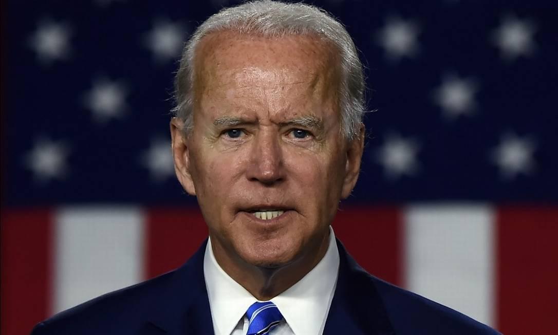 O candidato democrata à Casa Branca e vice-presidente Joe Biden no evento de lançamento do seu programa climático em Wilmington, Delaware Foto: OLIVIER DOULIERY / AFP