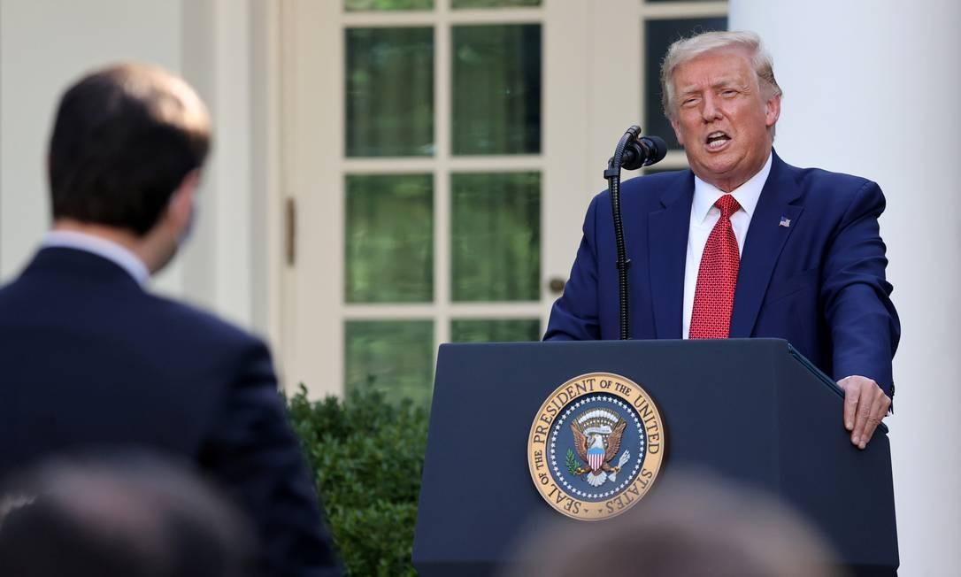O presidente Donald Trump participa de coletiva de imprensa na Casa Branca, em 14 de julho Foto: Jonathan Ernst / REUTERS