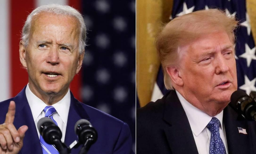 Os candidatos à Presidência dos EUA Joe Biden e Donald Trump Foto: Leah Millis / Reuters