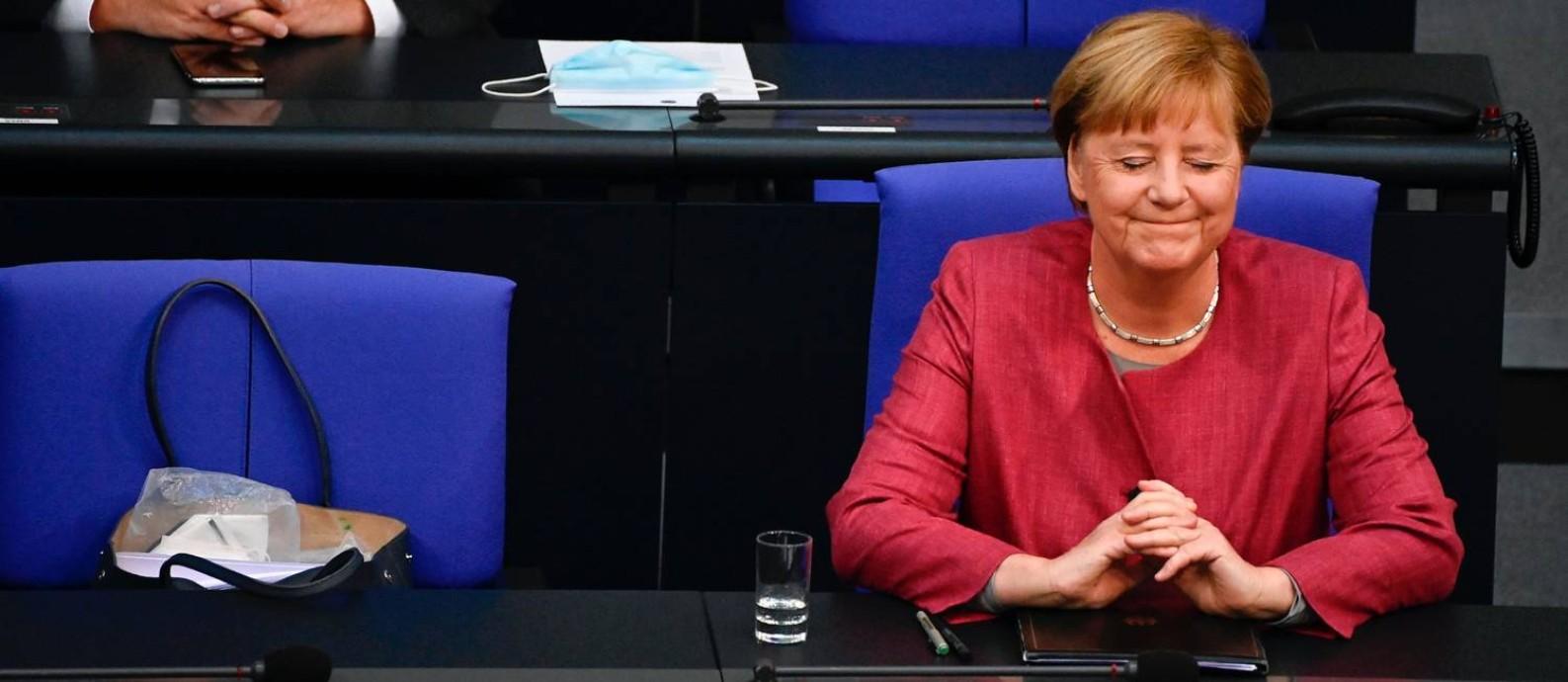 Merkel, que em novembro completa 15 anos à frente do governo, encerra em 2021 seu último mandato Foto: TOBIAS SCHWARZ / AFP/30-9-2020