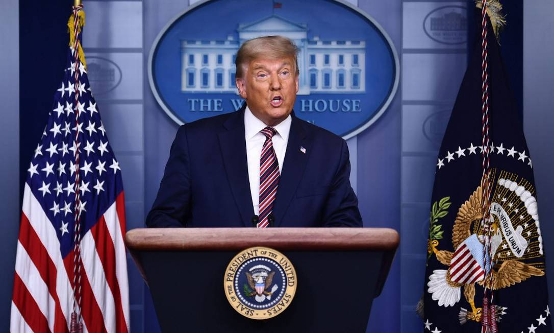 O presidente dos Estados Unidos durante pronunciamento na Casa Branca nesta quinta-feira Foto: BRENDAN SMIALOWSKI / AFP
