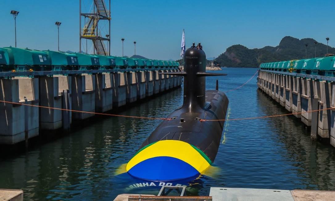 O Riachuelo, lançado ao mar em 2018, foi o primeiro de quatro do programa de submarinos convencionais, para o qual foram comprados dispositivos da empresa Crypto AG Foto: Marcelo Régua / Agência O Globo 14-12-18