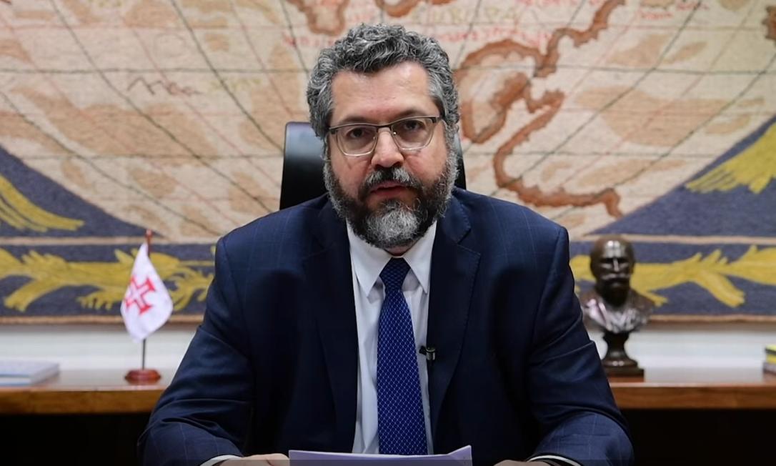 O ministro das Relações Exteriores, Ernesto Araújo, durante sua participação na conferência da ONU Foto: Reprodução
