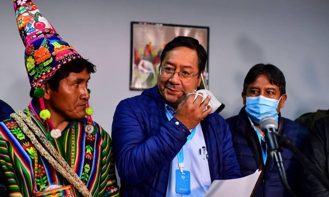 O presidente da Bolívia, Luis Arce, em uma entrevista coletiva em La Paz em outubro Foto: Ronaldo Schemidt / AFP