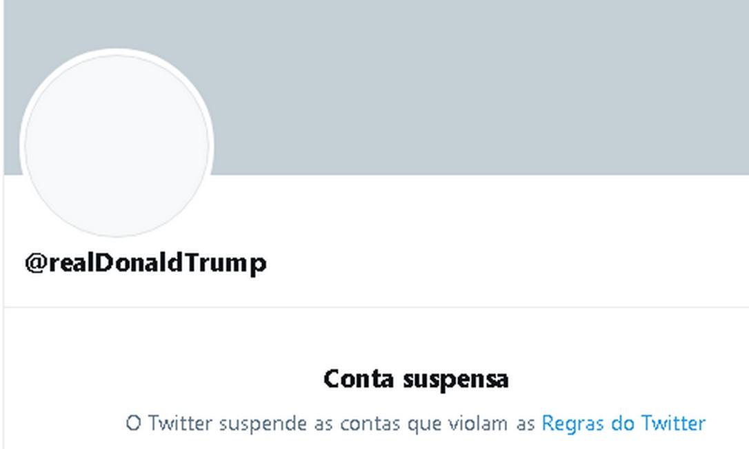 Conta de Trump no Twitter, suspensa de modo indefinido Foto: Reprodução