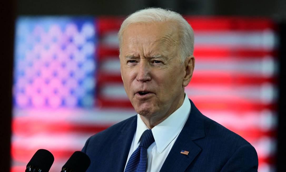 O presidente dos Estados Unidos, Joe Biden, apresenta seu pacote econômico em Pittsburgh, na Pensilvânia Foto: JIM WATSON / AFP