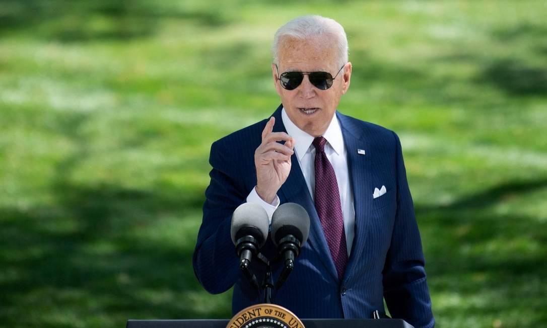 O presidente dos Estados Unidos, Joe Biden, em um discurso na Casa Branca nesta terça-feira Foto: BRENDAN SMIALOWSKI / AFP