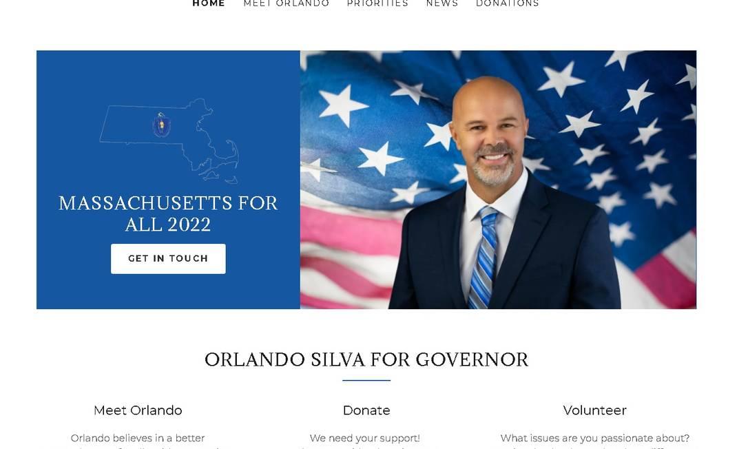 Site da pré-candidatura de Orlando Silva às primárias para o governo de Massachusetts Foto: Reprodução
