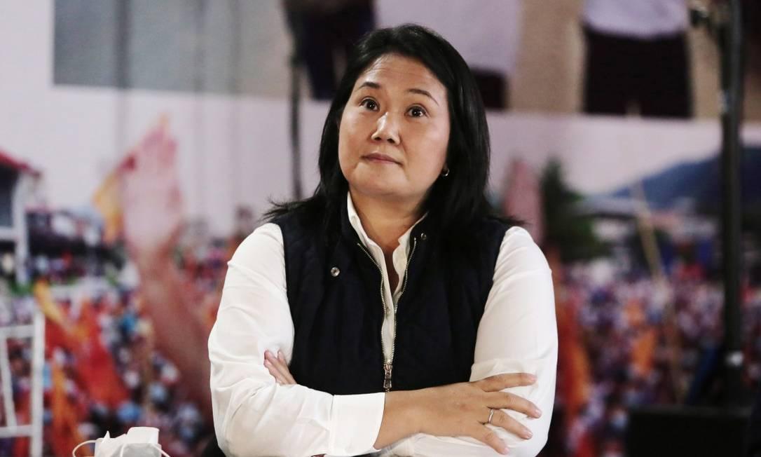A candidata presidencial Keiko Fujimori em uma entrevista coletiva na noite desta segunda-feira Foto: STRINGER / REUTERS